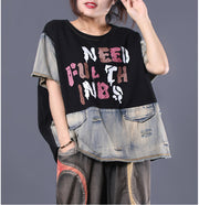 Letter Print Frayed Casual Denim T-Shirt