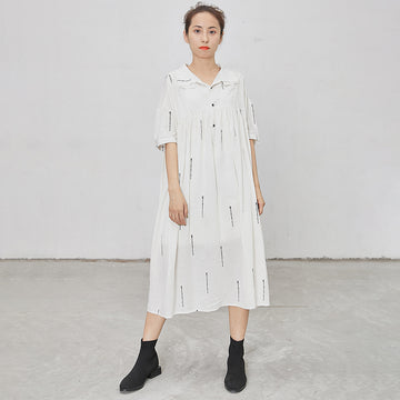 Letter Print Short Sleeve Casual Loose Dress
