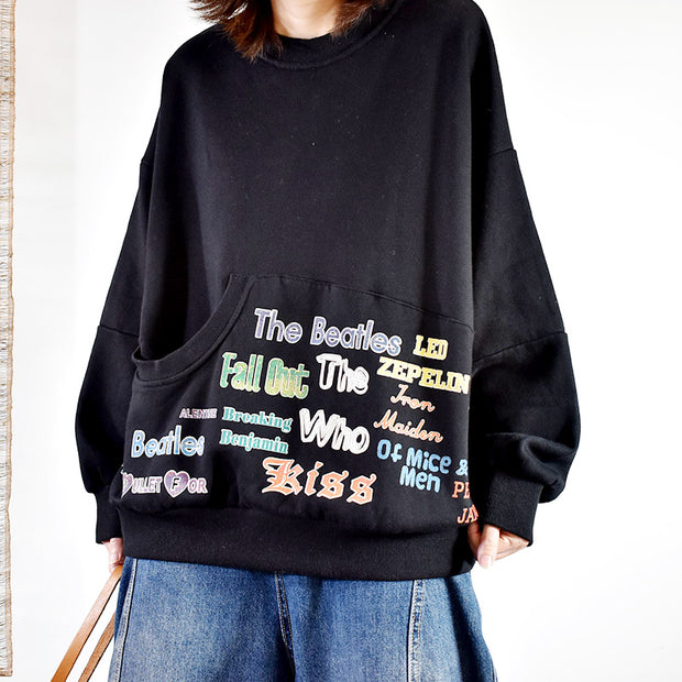Letter Printed Casual Irregular Pocket Sweatshirt