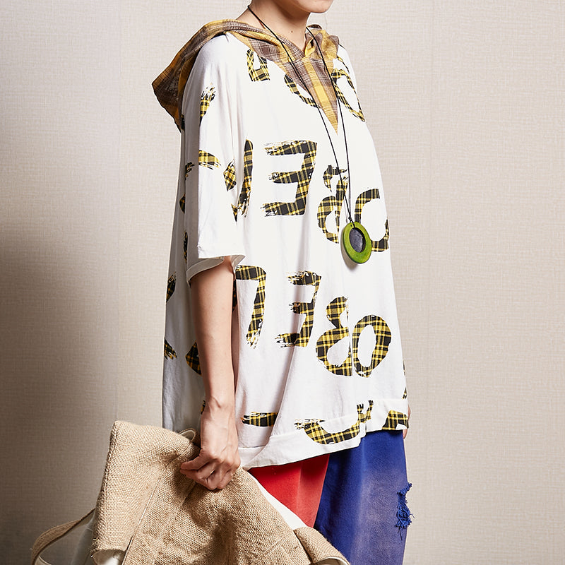 Letter Printed Casual Loose Hooded Blouse