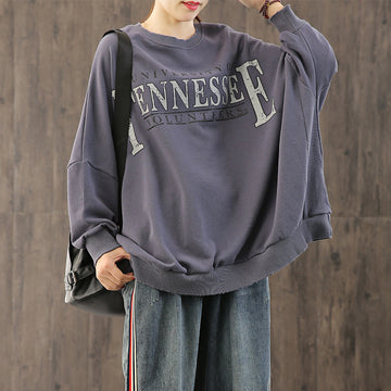 Letter Printed Distressed Loose Sweatshirt