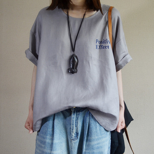 Letter Printed Loose Pullover Linen T-Shirt