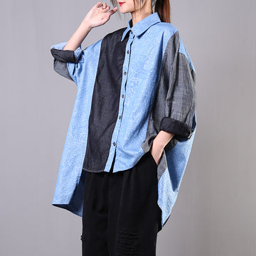 Letter Printed Stitching Loose Irregular Shirt