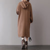 Letter Thick Hooded Casual Drawstring Velvet Dress