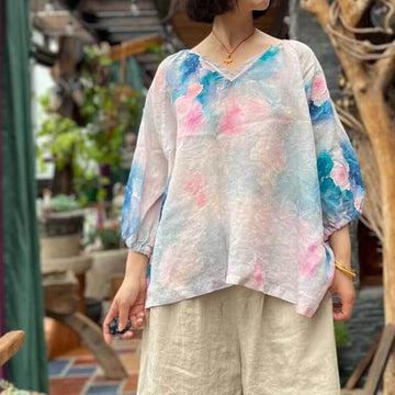 Linen Casual Loose Women V-neck Floral Print Top