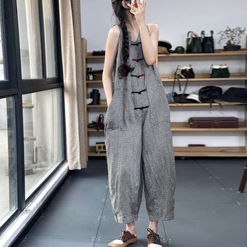 Linen Plaid Women Pocket Vintage Breasted Jumpsuits Dungarees