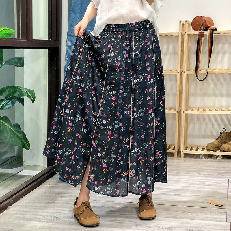 Linen Women Floral Plaid Casual Summer Skirt