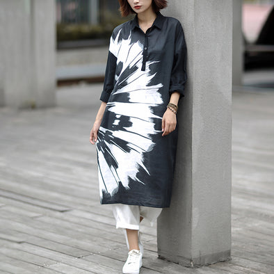 Linen Abstract Knee-Length Loose Long Sleeve Dress