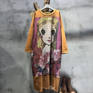 Linen Autumn Casual Cartoon Loose Cute Knee-length Dress
