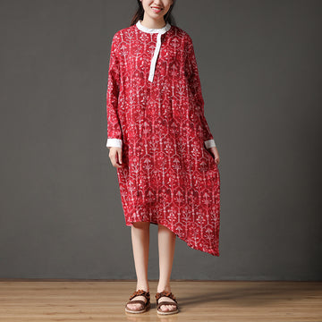 Linen Autumn Red Stand Collar Long Sleeve Flower Retro Dress
