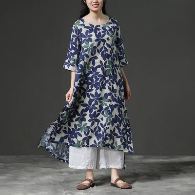 Linen Blue Floral Half Sleeve Retro Dress
