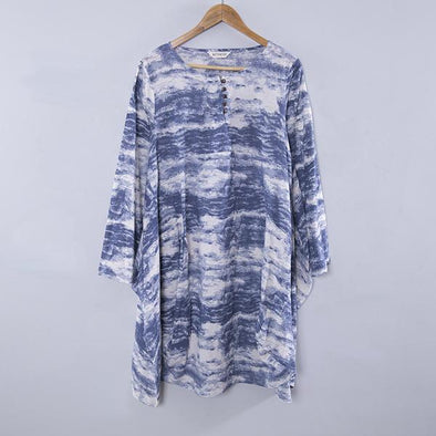 Linen Blue Print Casual Summer Dress