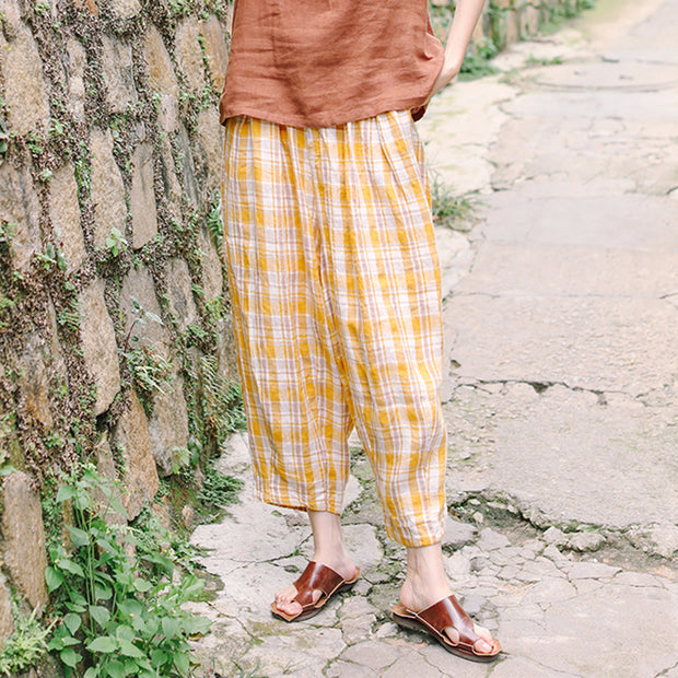 Linen Casual Ankle-Length Wide Leg Pants