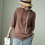 Linen Casual Batwing Sleeve Hooded Blouse