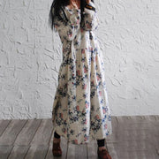 Linen Cotton Casual Long Sleeve Floral Pullover Dress