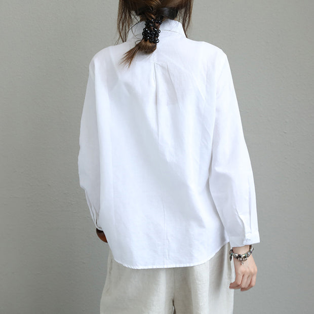 Linen Cotton Oblique Placket Plus Size Solid Shirt