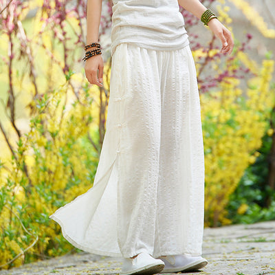 Linen Cotton Retro Slit Wide Leg Pants