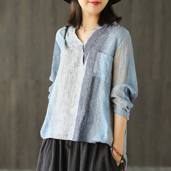 Linen Embroidery Striped Vintage Women Blouse