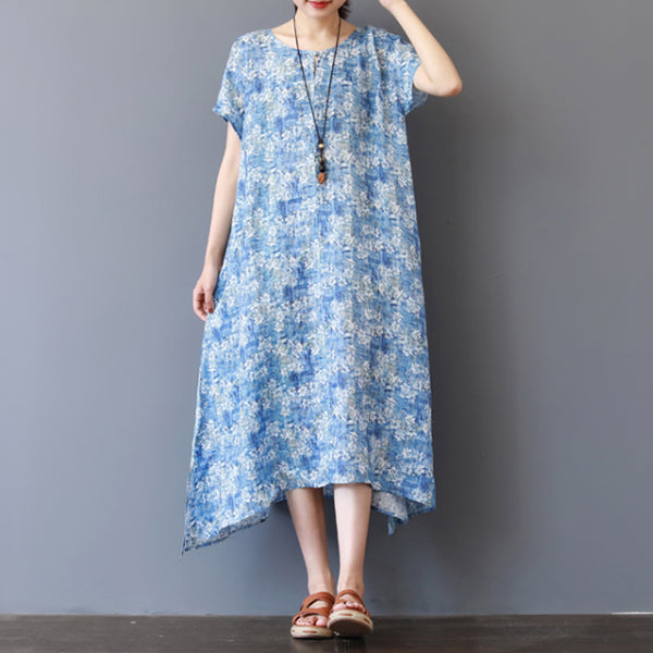 Linen Floral Loose Summer Casual Dress