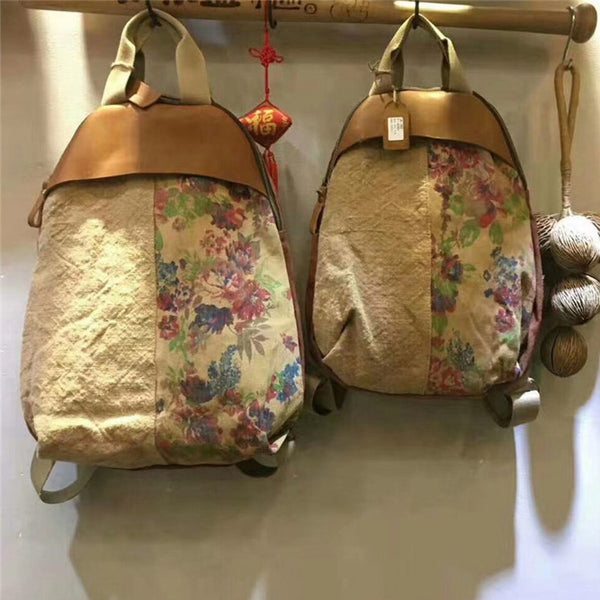 Linen Floral Spiced Casual Print Backpack