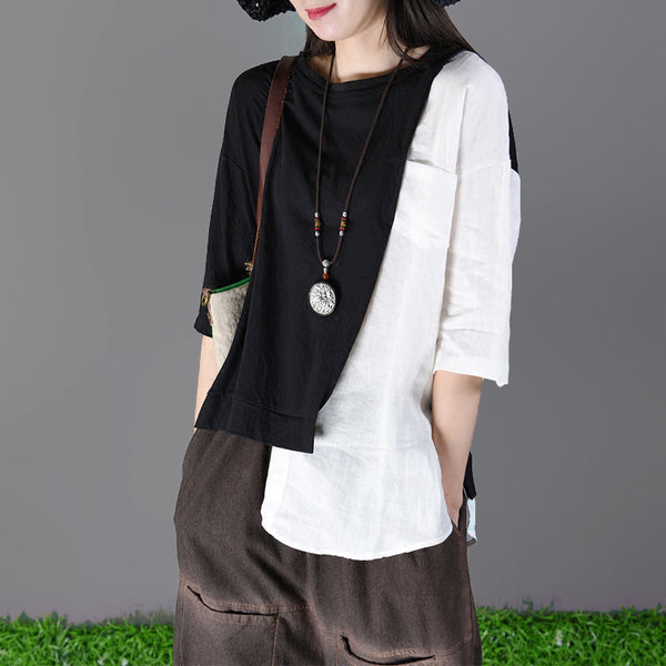 Linen Half Sleeve Loose Round Neck Blouse