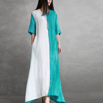 Linen Half Sleeve Pleated Spliced Dress