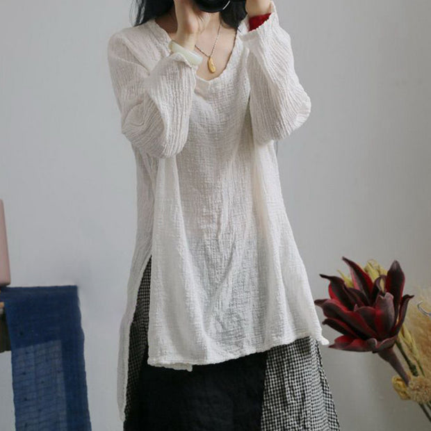 Linen High-low Hem Loose Long Sleeve Blouse