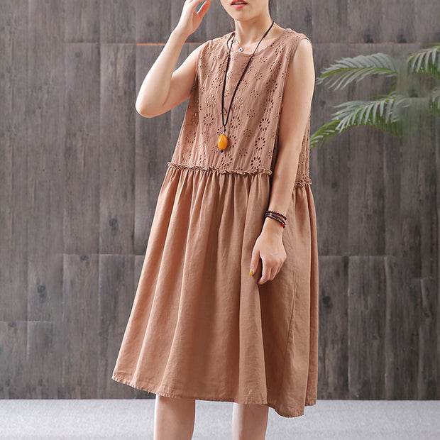 Linen Hollow Out Embroidery Sleeveless Dress