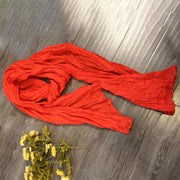 Linen Long Autumn Solid Pleats Women Scarf