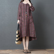 Linen Loose O-neck Plaid Midi Dress