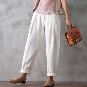 Linen Loose One Button Harem Pants