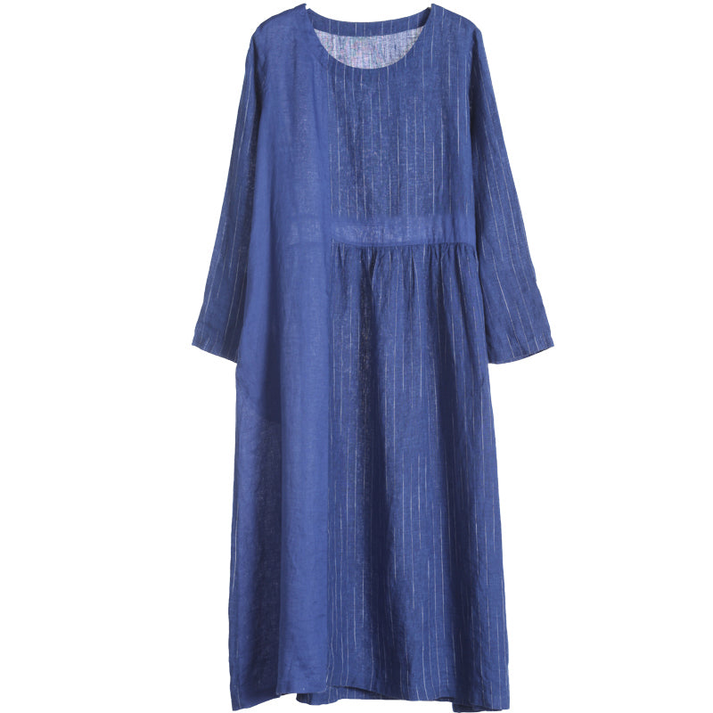 Linen Loose Round Neck Plus Size Dress