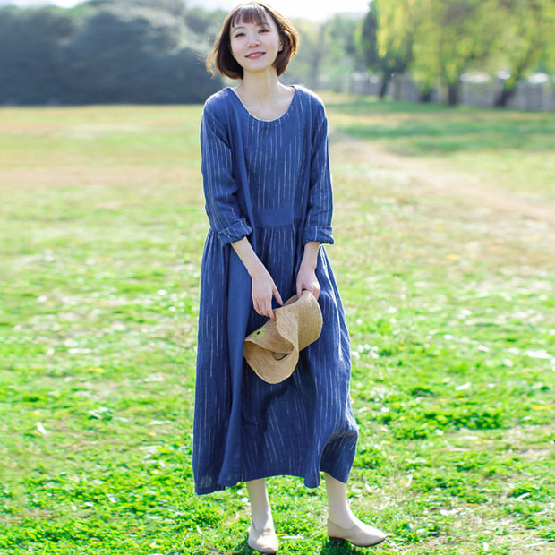 Linen Loose Solid Round Neck Plus Size Dress