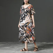 Linen Loose Summer Printing Casual Dress
