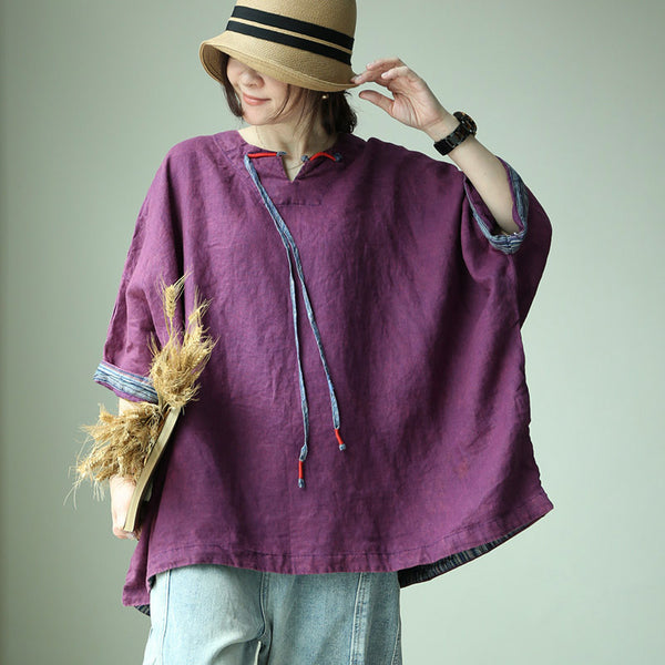 Linen Loose V-Neck Batwing Sleeve Blouse