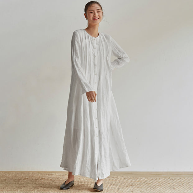 Linen Organ Pleats Solid Color Elegant Dress