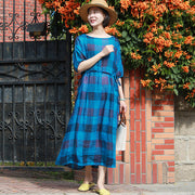 Linen Plaid Pleated Half Sleeve Plus Size Dress