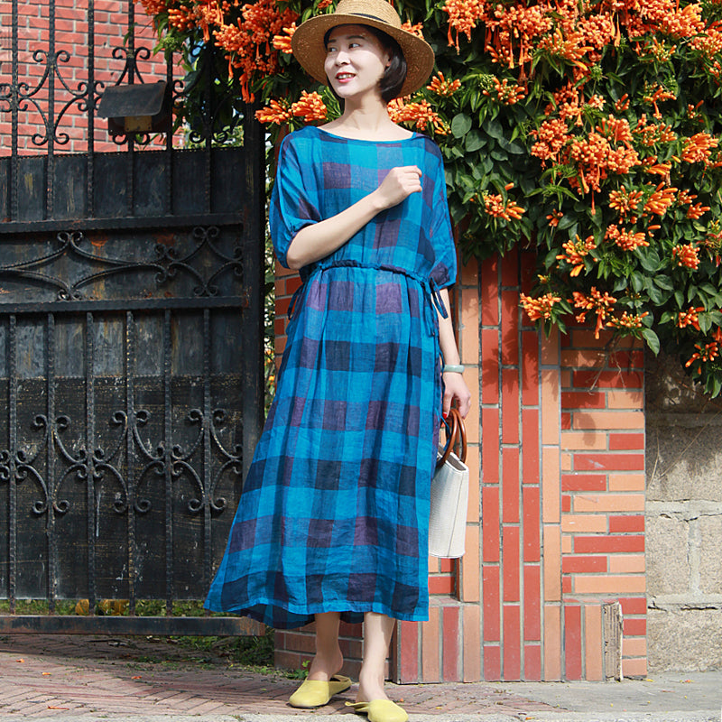 Plus Size-Plaid Pleated Half Sleeve 100% Linen Dress