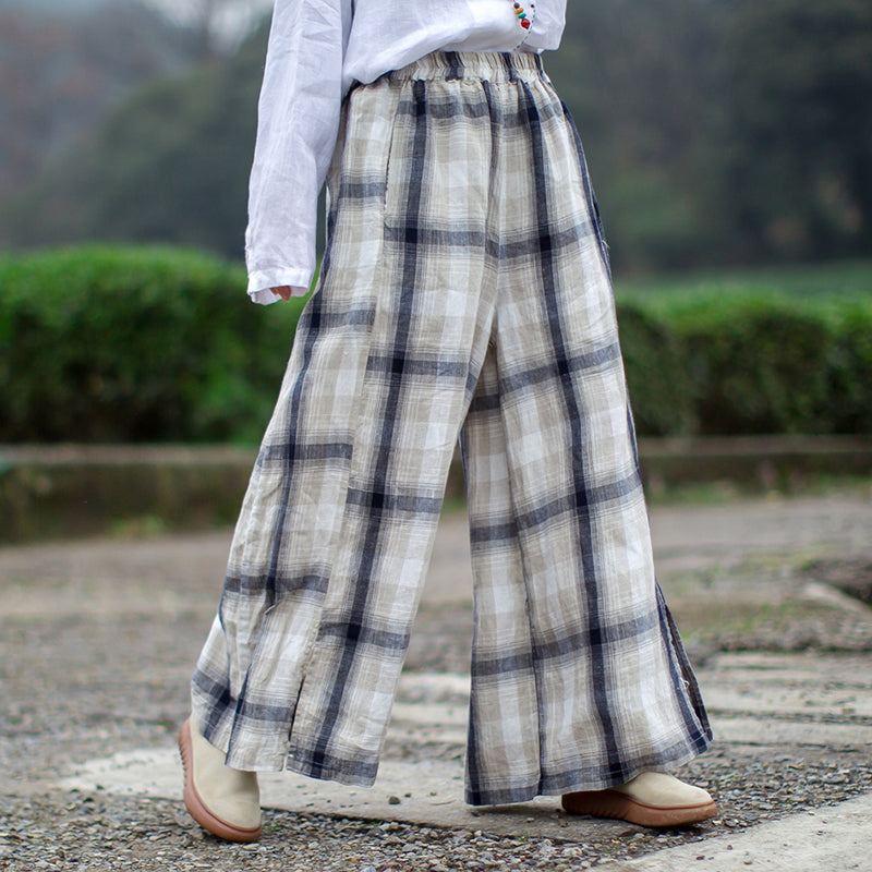 a51c4fa1c79 Linen Plaid Vintage Plus Size Wide Leg Pants
