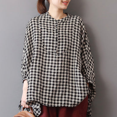 Linen Plus Size Black White Plaid Blouse