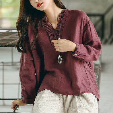 Linen Plus Size High-low Hem Autumn Blouse