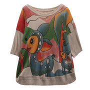 Linen Print Cartoon Knitted Half Sleeve Blouse