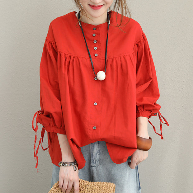 Plus Size Linen Red Lacing Loose O-neck Blouse