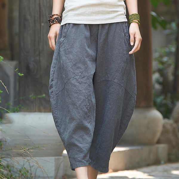 Linen Retro Bloomer Elastic Waist Pants