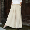 Linen Solid Color Women Wide Leg Pants