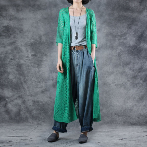 Linen Solid Half Sleeve V-Neck Hollow Out Coat
