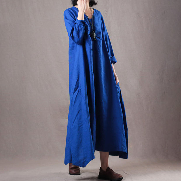Linen Solid Loose A-Line Irregular Hem Casual Dress