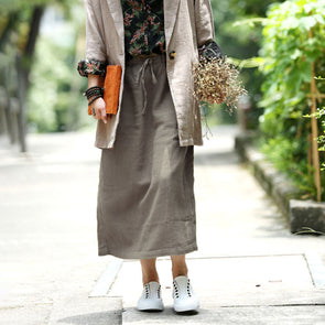 Linen Solid Office Lady Autumn Drawstring Skirt