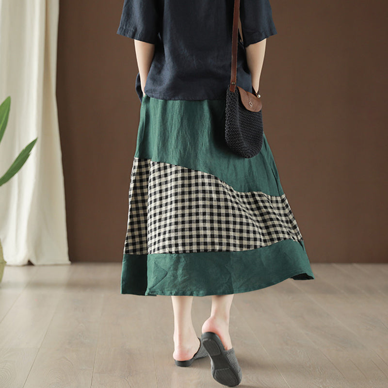 Linen Spliced Plaid Vintage Elastic Waist Skirt