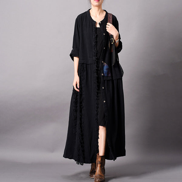 Linen Spliced Stand Collar Slim Coat